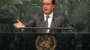 Tổng thống Pháp F.Hollande tại Đại hội đồng LHQ. Ảnh ngày 28/09/2015.