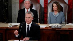 Le général Jens Stoltenberg, secrétaire général de l'Otan, lors d'un discours solennel devant le Congrès américain, où il a appelé à «préserver l'unité» des 29 Etats membres, à Washington, le 3 avril 2019.