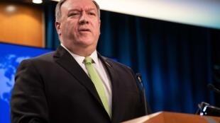 El secretario de Estado de EEUU, Mike Pompeo, ofrece una rueda de prensa en Washington el 20 de mayo de 2020