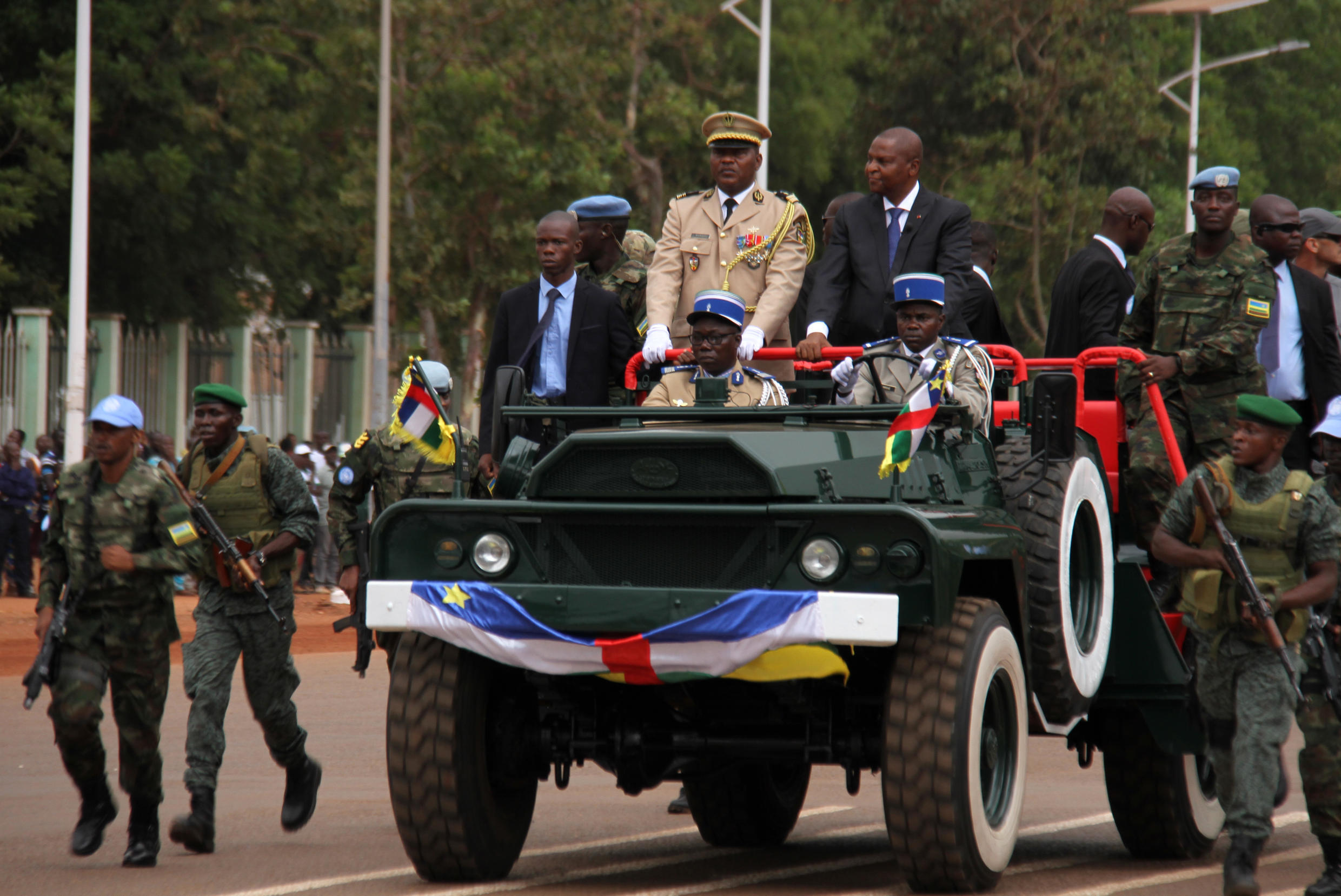 President Faustin Archange Touadéra at a military parade to mark 60 years since the Central African Republic gained independence from France.