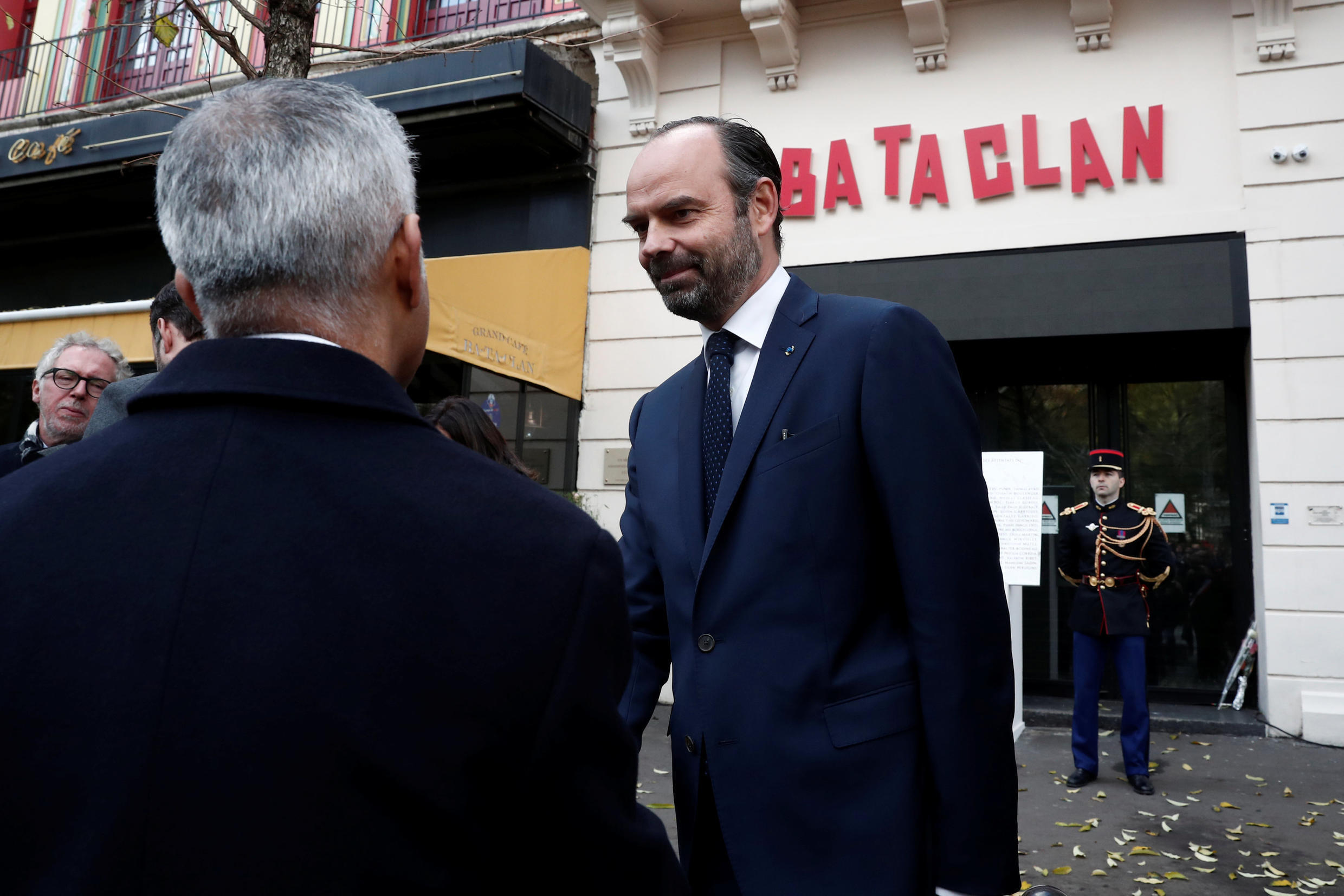 French Prime Minister Edouard Philippe at the restored Bataclan music hall in Paris on the 3rd anniversary of the terror attacks, 13 Nov. 2018