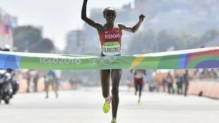 Jemima Jelagat Sumgong, mshindi wa mbio za Marathon katika mashindano ya  Olimpiki, Agosti 14, 2016 Rio de Janeiro.
