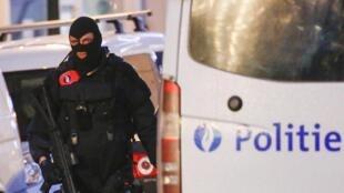 Belgian police in Brussels last month