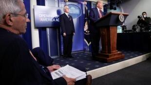 Le président Trump lors du point presse consacré au coronavirus à la Maison Blanche, le 16 avril 2020.