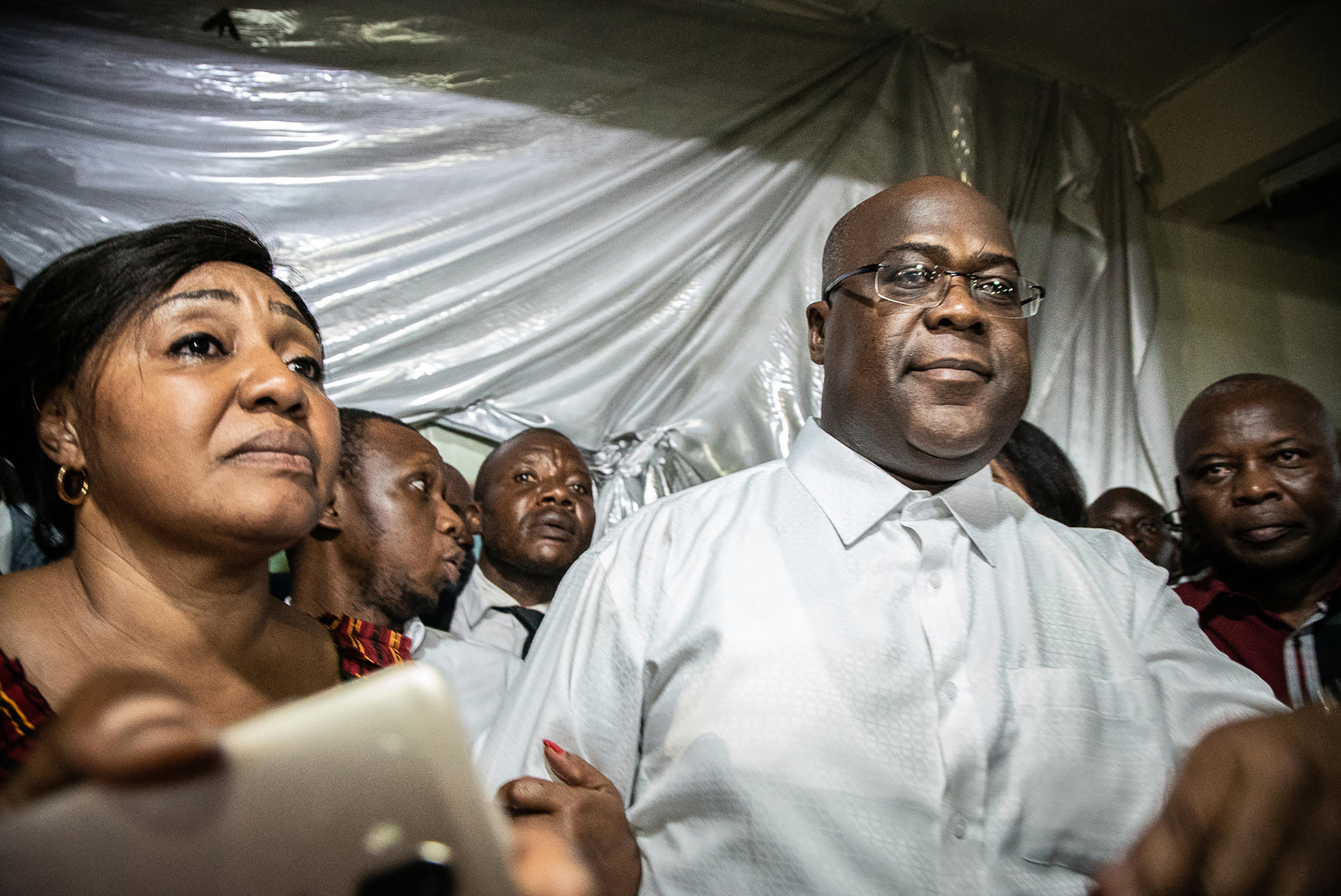 Tshisekedi reacts a few minutes after being declared winner of the presidential polls, Kinshasa, 10 January 2019.