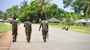 Mozambique soldiers patrol the northern town of Mocimboa da Praia, which has been reportedly taken over by jihadists