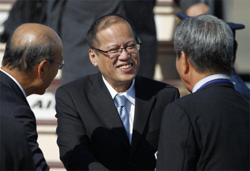 Philippines President Benigno Aquino arrives in Japan for an official visit Sunday