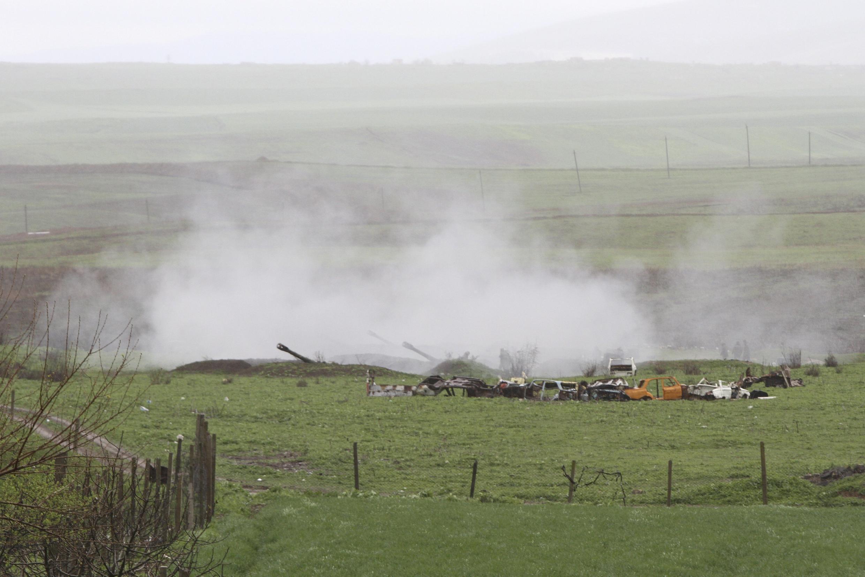 Артиллерийские удары с армянской стороны у Мартакерта, Нагорный Карабах, 3 апреля