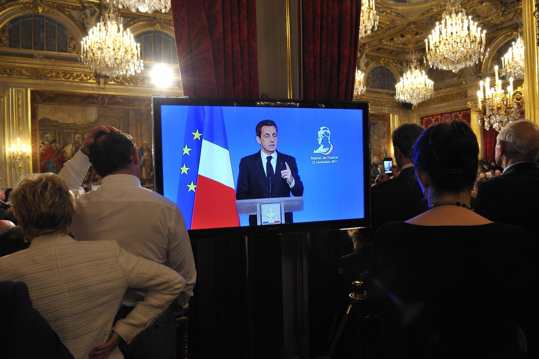 O presidente Nicolas Sarkozy durante o Encontro de prefeitos da França, que acontece em Paris.