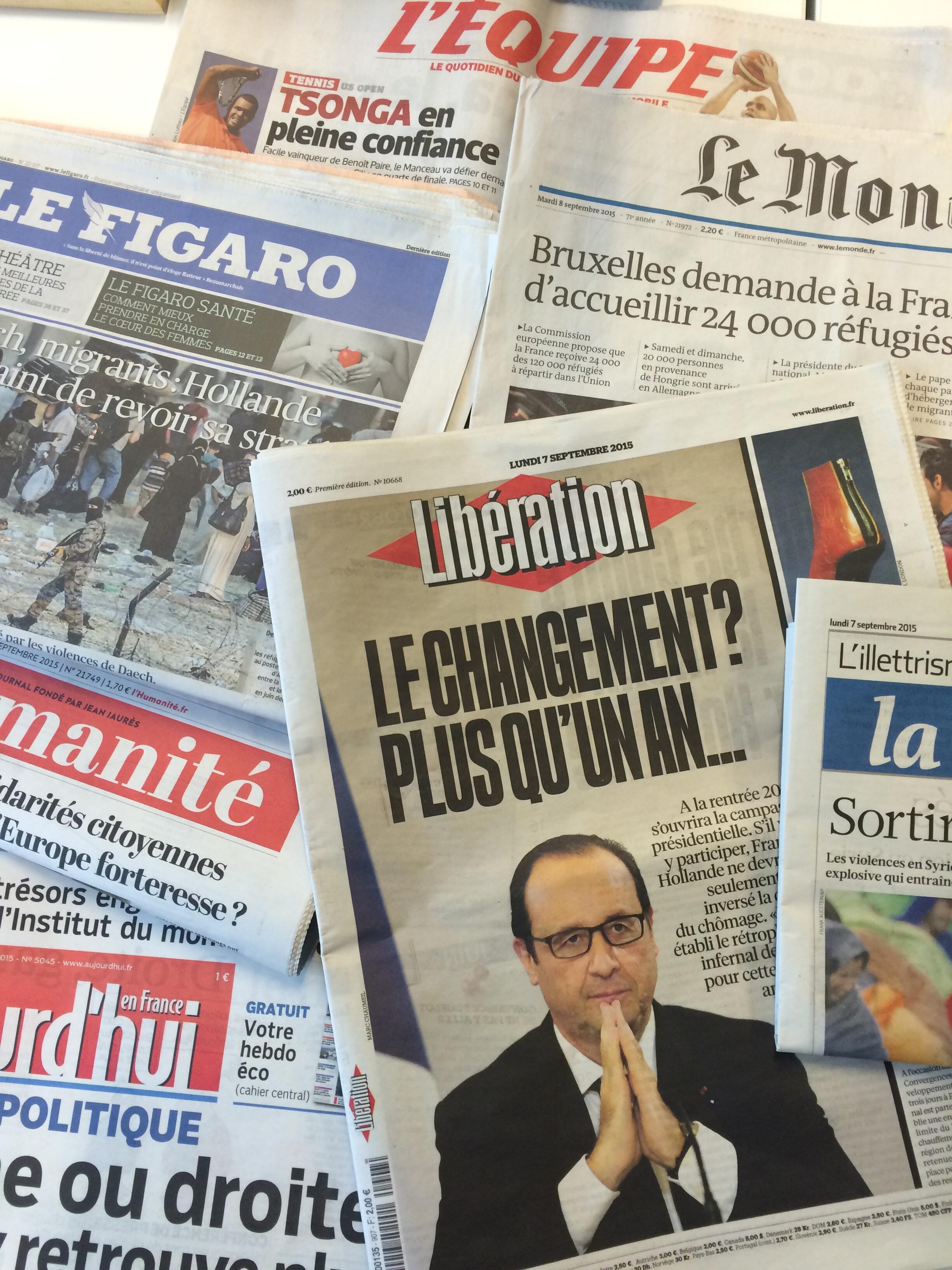 Capas dos jornais diários franceses de 07/09/15