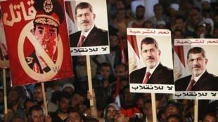 Waandamanaji mjini Cairo Misri wanaomuunga mkono Mohamed Morsi