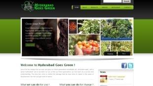 Capture d'écran du site d'Hyderabad goes green, pionnier de l'économie verte en Inde.