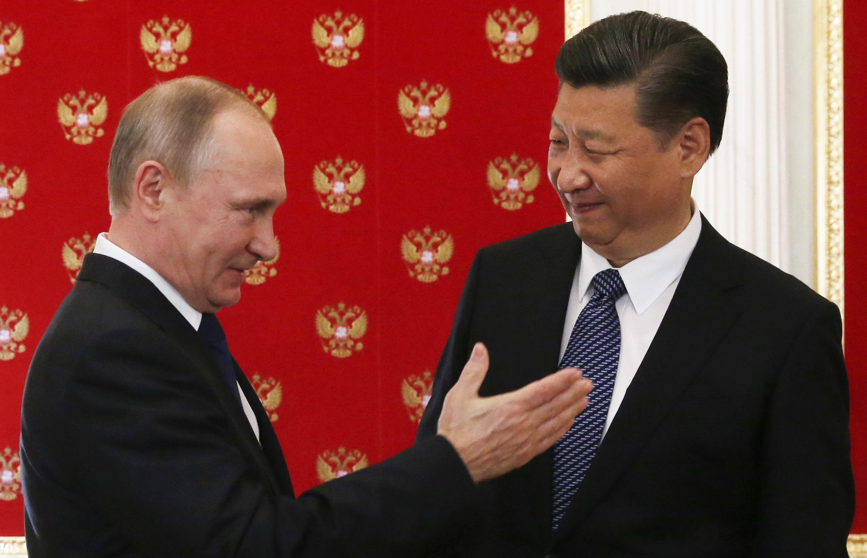 圖為中國國家主席習近平與俄羅斯總統普京