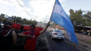 La oposición hondureña manifestó a finales de diciembre en Tegucigalpa contra el apoyo de EEUU a la reelección de Juan Orlando Hernández.