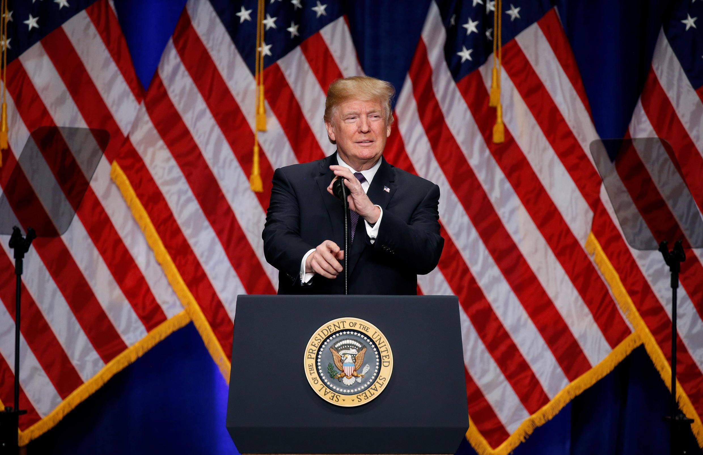 Tổng thống Mỹ Donald Trump phát biểu về « Chiến lược an ninh quốc gia ». Ảnh ngày 18/12/2017, tại Washington.