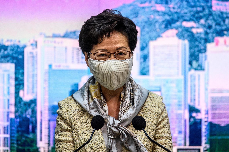 2020年6月30日,香港特首林鄭月娥在例行記者會上。