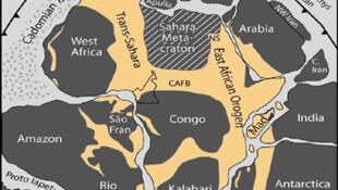 Carte du Gondwana, il y a environ 250 millions d'années.
