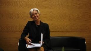 A ministra francesa da economia, Christine Lagarde, em Lisboa nesta sexta-feira, 10 de junho.