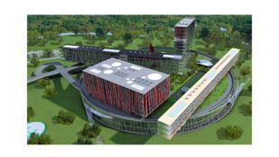 Une vue générale de la maquette du campus Skolkovo, actuellement en construction dans la banlieue de Moscou, en Russie.