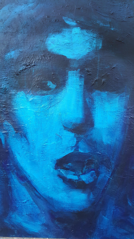 چهرۀ سحر خدایاری، که به دختر آبی شهره شد. رضا یحیائی میگوید با شنیدن خبر درگذشت سحر سه شبانه روز به او میاندیشیده و این تابلو را، که در آن نگاه مادر خویش را نیز میبیند، به یاد او و برای بزرگداشت او کشیده است.