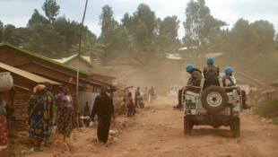 Kikosi cha wanajeshi wa Umoja wa Mataifa nchini DRC, MONUSCO, katika mji wa Djugu.