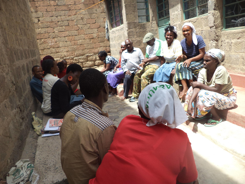 Students at Mtaani University gather for a lesson about sanitation, Huruma estate in Nairobi.