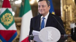 El expresidente del Banco Central Europeo, Mario Draghi, durante una rueda de prensa en el palacio del Quirinal de Roma, Italia, el 3 de febrero de 2021