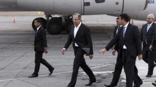 Sergueï Lavrov, le ministre russe des Affaires étrangères à son arrivée au Guatemala, le 25 mars 2015.