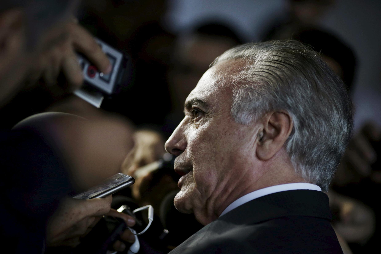 Le vice-président Michel Temer lors d'une conférence de presse, le 11 avril à Brasilia.