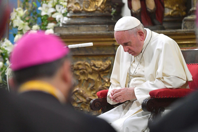 Giáo hoàng Phanxicô tại nhà thờ Santiago, Chilê, ngày 16/01/2018.