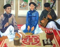Hát ca trù - tranh sơn dầu của Phạm Công Thành (2005). Ảnh: N.X.D