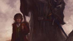 Bilbo và Gandalf, hai nhân vật chính trong tác phẩm Anh chàng Hobbit của nhà văn người Anh, J. R. R. Tolkien.