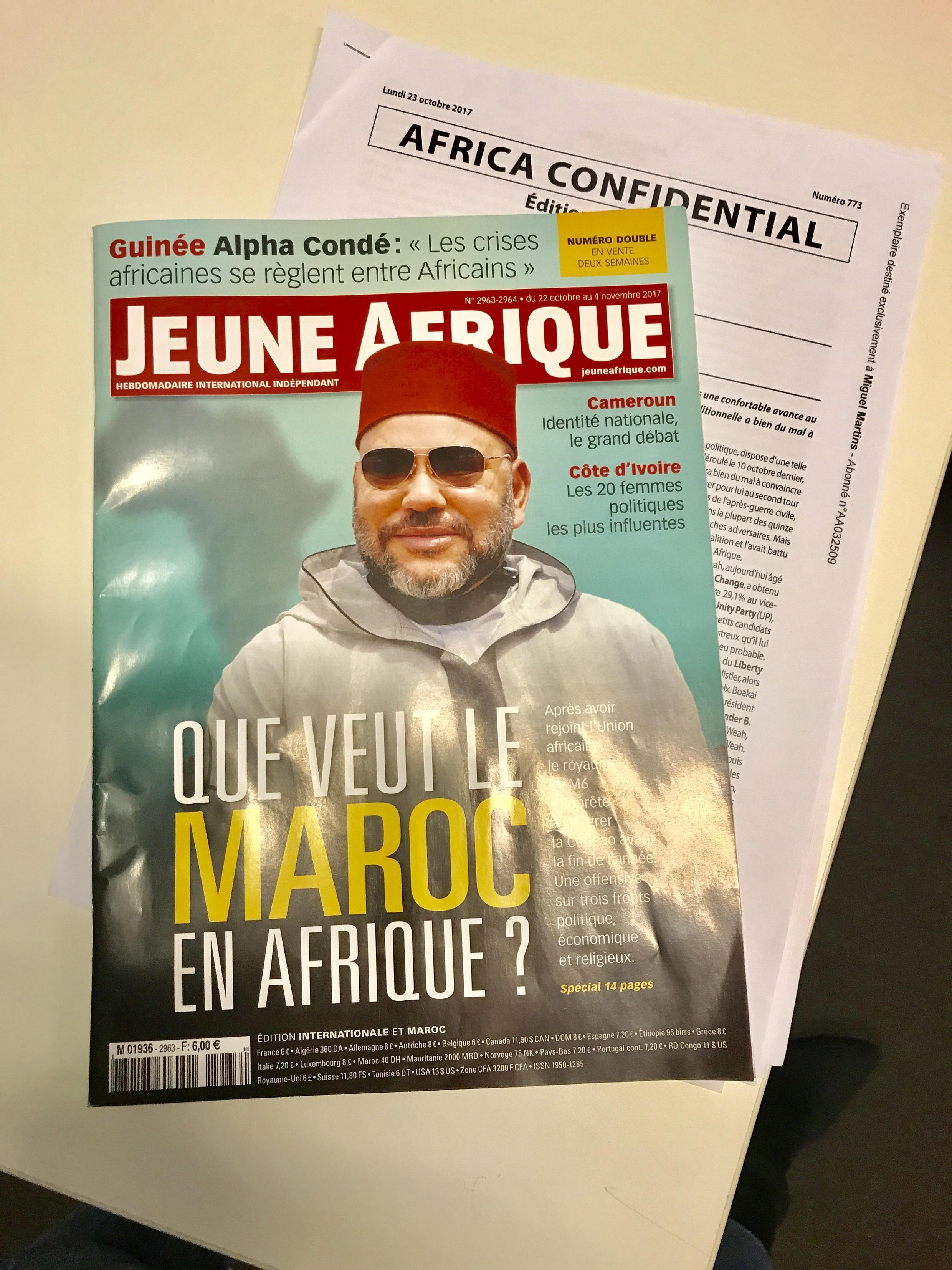 Capa da publicação frencesa Jeune Afrique