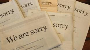 Newspapers featuring an apology from News Corp Chairman Rupert Murdoch