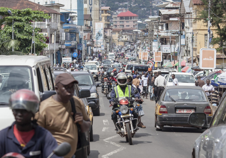 A street in Sierra Leone's capital, Freetown