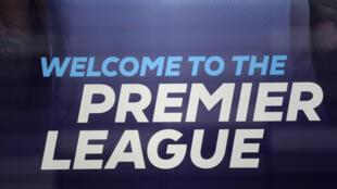 El logo de la Premier League inglesa en su sede de Londres, el 13 de marzo de 2020