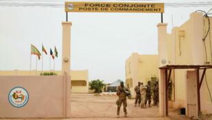 L'entrée d'un poste de commande du G5 Sahel à Sevaré, au Mali le 30 mai 2018.