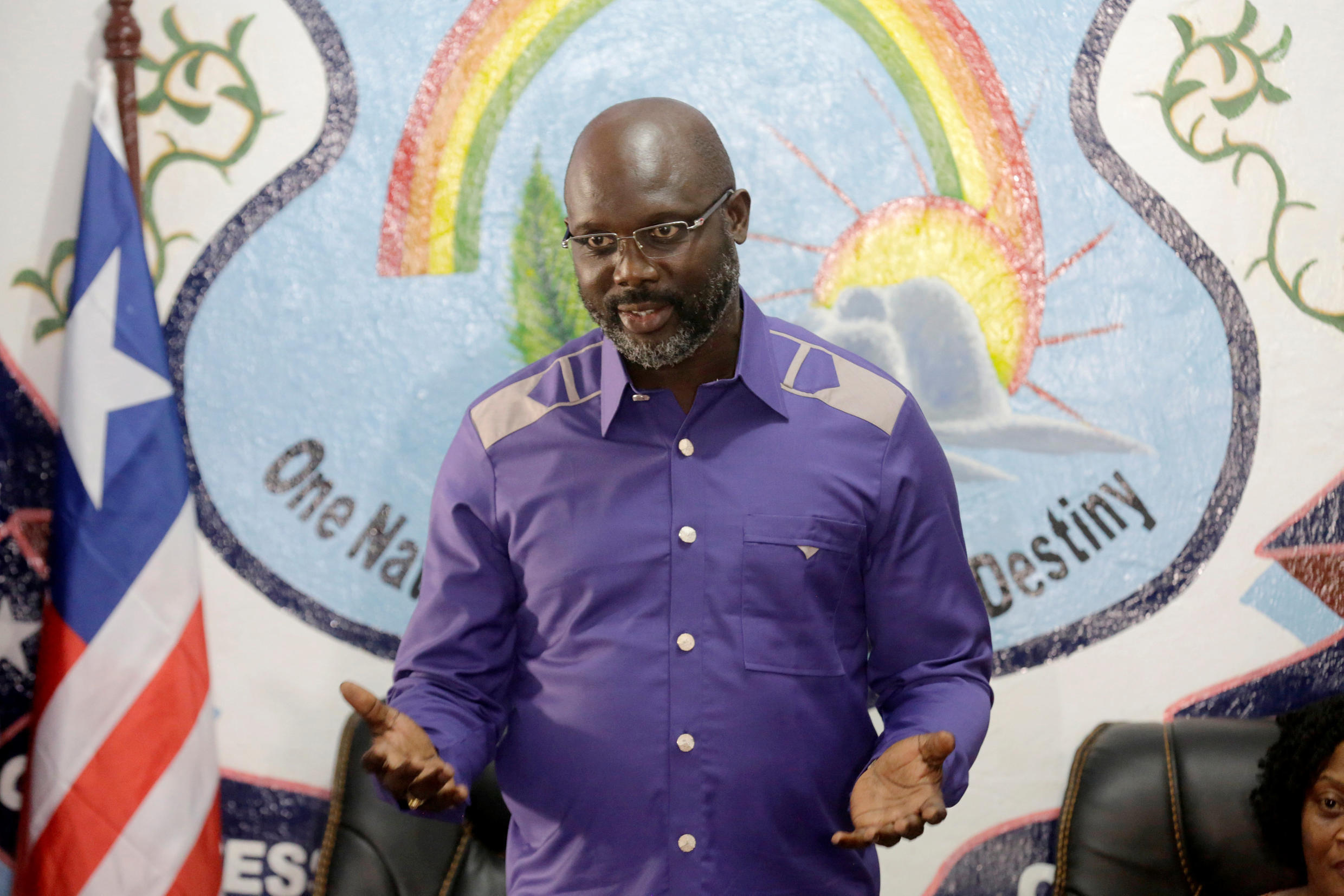 President of Liberia, George Weah, shortly after his election victory, 30 December 2017