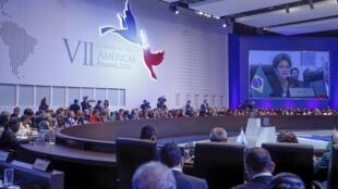 A presidente Dilma Rousseff durante discurso na sessão plenária da Cúpula das Américas.11/04/15