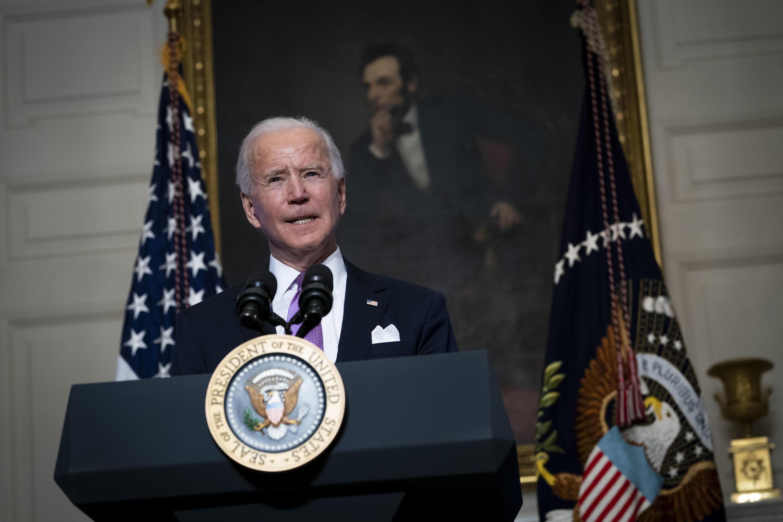 法廣存檔圖片:美國總統拜登 2021年1月26日 攝於白宮 Image d'archive RFI: Le président américain Joe Biden lors d'une conférence de presse à la Maison Blanche le 26 janvier 2021.