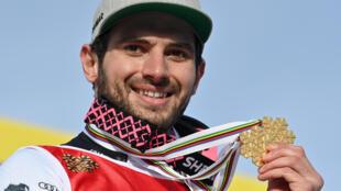 Mathieu Faivre champion du monde du géant, à Cortina d'Ampezzo en Italie, le 19 février 2021