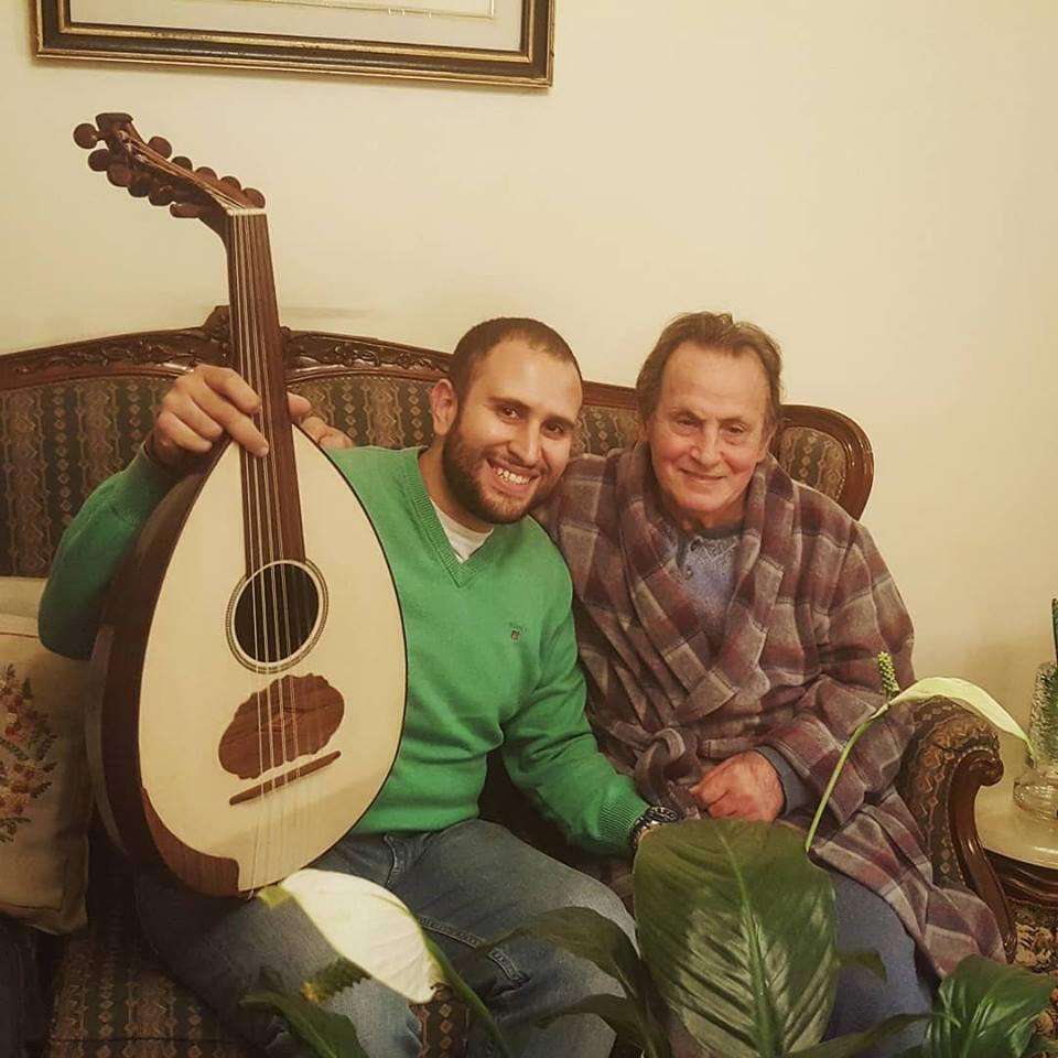 Michael Onsy with Albert Mansour, a popular oud-maker in Lebanon