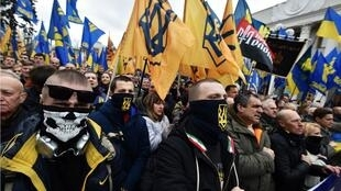 Supporters of Svoboda join other ultranationalists of Pravy Sektor and National Corpus on a demonstration in Kiev last year