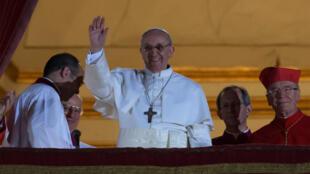 Le pape François, le jour de son élection, le 13 mars 2013.