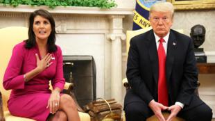 Nikki Haley, akikutana na rais  Donald Trump, baada ya kutangaza kujiuzulu Oktiba 9 2018