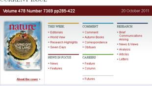 Ảnh chụp trang web số báo đề ngày 20/10/2011 với trang bìa tập san khoa học Nature.