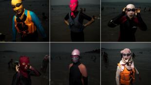 O facekini, máscara de tecido para cobrir o rosto do sol, volta com tudo e com novos modelos neste verão chinês.