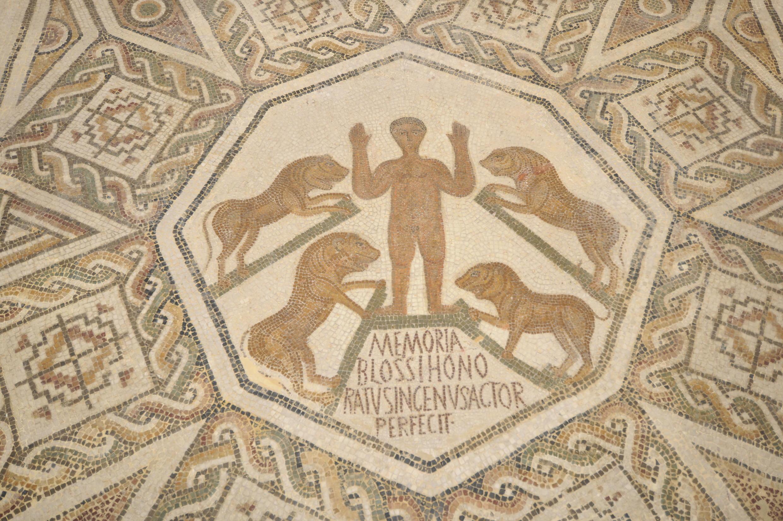 Vue d'une célèbre mosaïque exposée au Musée national du Bardo, à Tunis, en Tunisie.