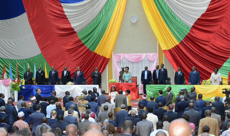 Catherine Samba-Panza, la présidente de la transition lors de la clôture du Forum de Bangui, le 11 mai.