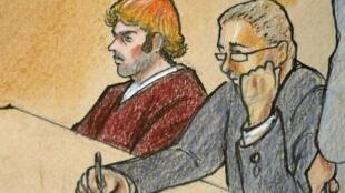Desenho feito durante processo de James Holmes, nesta segunda-feira.